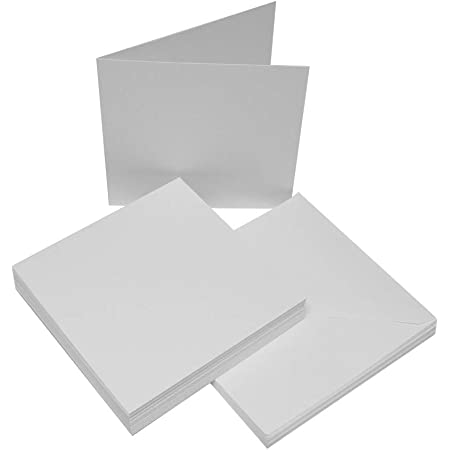 Craft UK blank greeting cards /& envelopes square 8 x 8 inch white colour x 25
