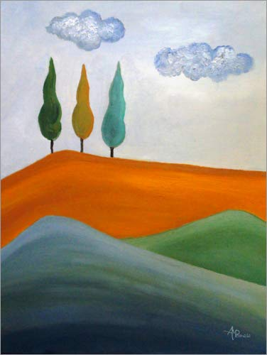 Leinwandbild 30 x 40 cm: Zypressen-Trio von Ángeles M. Pomata - fertiges Wandbild, Bild auf Keilrahmen, Fertigbild auf echter Leinwand, Leinwanddruck