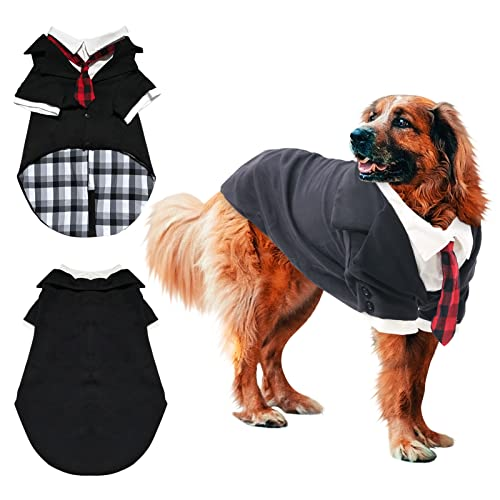 Gorsbark Dog Tuxedo Suit for Large Medium Dogs, Formal Dog Shirts for Wedding Costume, Stylish Black Pet Clothing with Red Bow Tie, Birthday Anniversary Halloween New Year Christmas Valentine's Day M