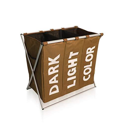 Cesto de ropa sucia Lavandería Cesto de almacenamiento Plegable Canasta de almacenamiento Compartimiento Hogar Oxford Impermeable (Color : Coffee color)