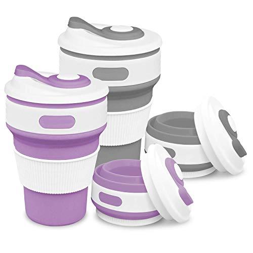 ACMEDE Faltbare Tasse, Silikon Becher Kaffee Camping Tasse Reise Geschenk Becher 350ml 100% Lebensmittelqualität Silikon BPA-frei geeignet für Outdoor-Aktivitäten Camping Wandern (Lila + Grau)