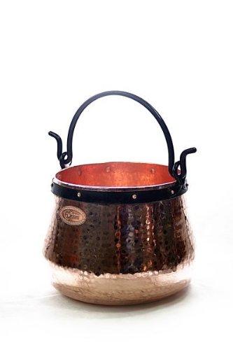 CopperGarden Kupferkessel 20 L mit Henkel I Robuster Kessel aus blankem Kupfer: Ideale Wärmeleitung & -verteilung I Lebensmittelechter Feuerkessel für Gulasch/Feuerzangenbowle uvm.