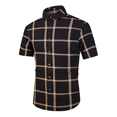 ARbuliry Herrenhemden, Retro-Stil Plaid Herren-Freizeithemd Kurzarm Baumwolle, quadratischer Kragen Herrenoberteile Atmungsaktives, schnell trocknendes, dünnes Hemd
