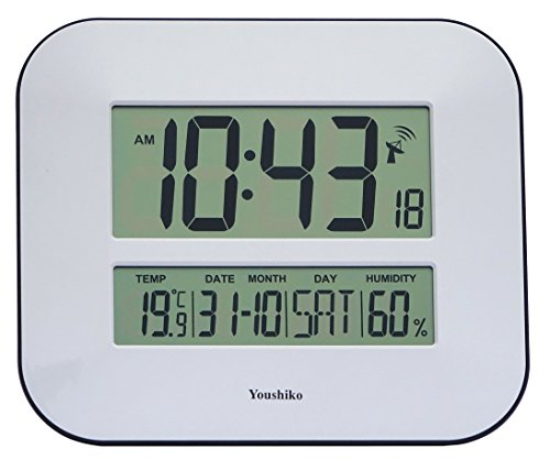 Youshiko Jumbo Large LCD Radio Controlled Wall & Desk Clock (UK & Ireland Version) Silent Battery Operated Temperature Humidity Calendar for Home Office