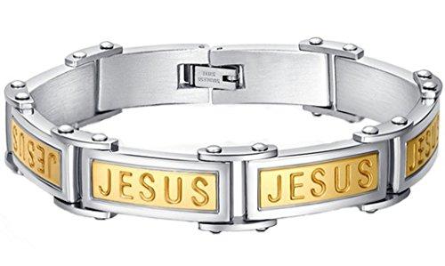 Daesar Gravur Edelstah Herren Cuff Armband Gold Christian Jesus 1X21CM