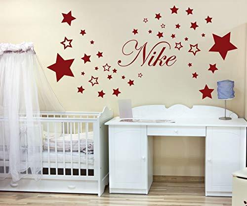 Muurtattoo set naam Nike kinderen muursticker kleurrijk muurschildering sterren deco kinderkamer babysticker kleurkeuze nam353, grootte 1:110x55cm, kleur 2: donkerrood