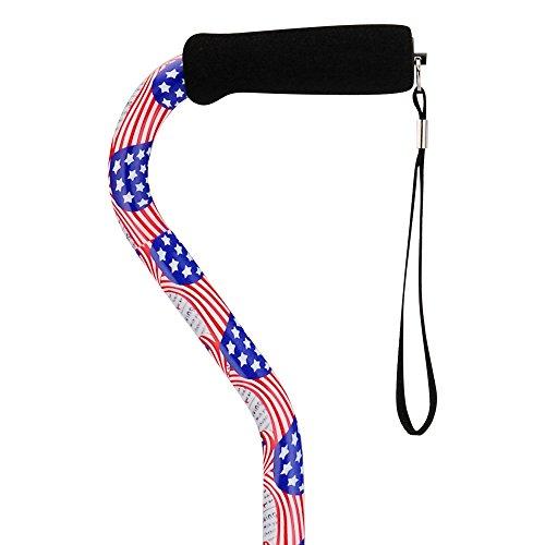 "Image of NOVA Designer Walking Cane with Offset Handle, Lightweight Adjustable Walking Stick with Carrying Strap, ""Stars and Stripes"" Design"