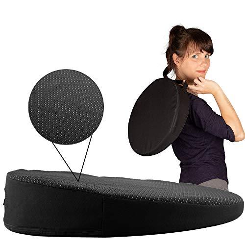 Seatwith Bequemes Keilkissen – Sitzkeil - Rund Ø 34cm mit Anti-Rutsch Bezug und Tragegriff sorgt für entspanntes Sitzen und maximales Wohlbefinden - Sitzkissen