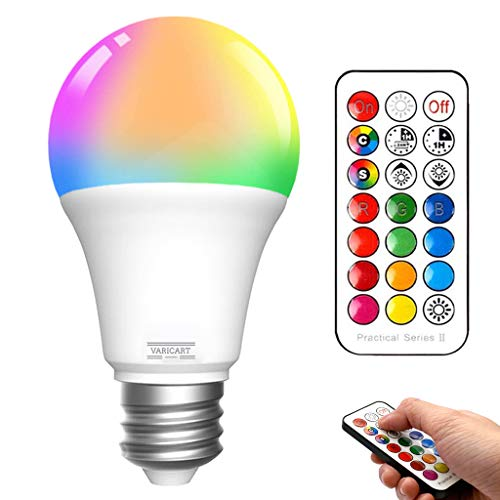 VARICART E27 10W Bombilla LED Edison Tornillo, RGB + Blanco Frío 6000K, Regulable 12 Cambios Color + 5 Modos, Memoria Integrada con Mando, 75W~100W Equiv. Globo para Diario y Ambiental (Pack de 2)