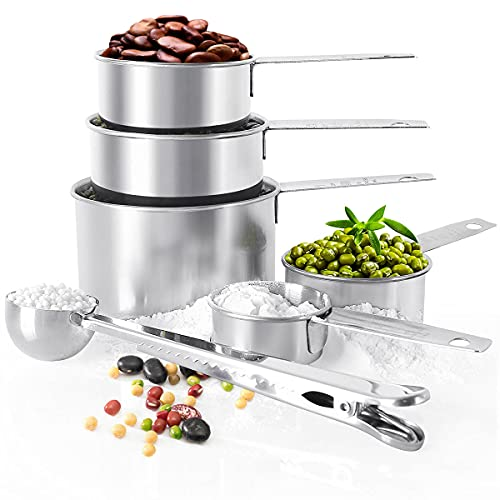 BOBIPROMeasuring Cup Set,5 Piece Stainless Steel Measuring Cups and 1 Coffee Scoop Clip,Metal Measuring Cups for Baking and Cooking