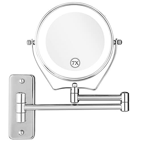SJASD Espejo de Maquillaje LED de Montaje en Pared con Aumento 1X/7X, 6 Pulgadas Espejo Cosmético de Tocador Iluminado,360 Giratorio, Iluminado Espejo de Afeitar Baño, Bateria cargada