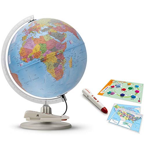 """Waypoint Geographic Parlamondo Interactive Talking Smart Globe 12"""" Diameter Illuminated Globe W/Rechargeable Talking Pen - 6 Languages - Single or Multi-Player Games, Geography & Political Facts"""