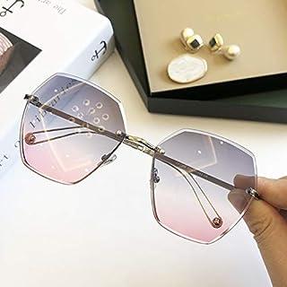 HPLDEHA - HPLDEHA Gafas de Sol sin Montura Cuadrada Mujeres Vendimia Shades 2020 Gafas de Sol del gradiente Marca de Metal Femenino Gafas (Objektiv-Farbe : Gray)