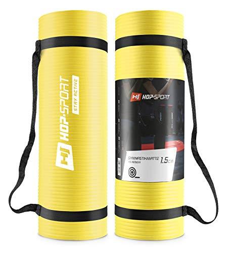 Hop-Sport Gymnastikmatte NBR180x61cm in Zwei Stärken/Fitnessmatte ist rutschfest und verformt Sich Nicht + Tragegurt (1,5cm rot)