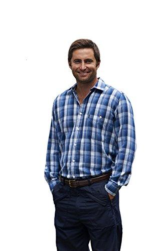 Champion Herren Chatham Hemd Lange Ärmel aus Polybaumwolle (Blau) 2XL