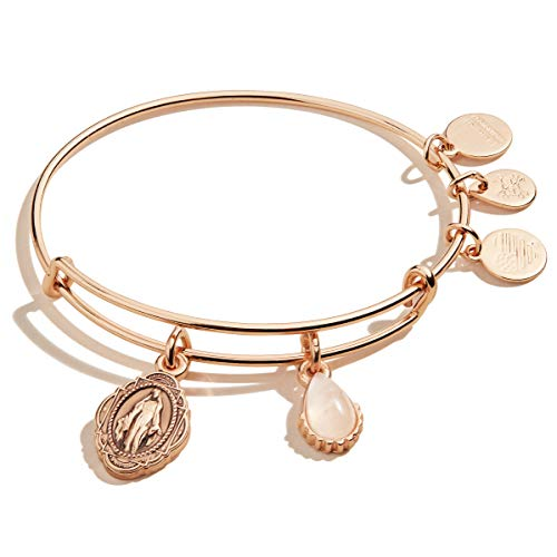 Alex and Ani Duo Charm Bangle Bracelet Rose Gold/Mother Mary One Size, Shiny Rose Gold (A20EBGA36SR)