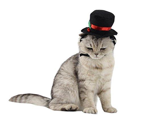 Cappello da ginnastica per gatti di LDD STAR Cappello festivo Dress Up Gentleman Black Hat