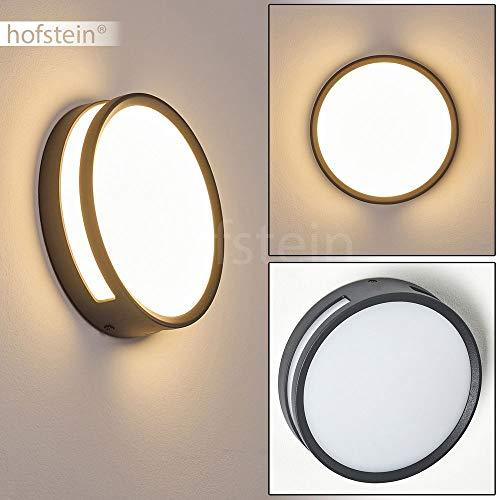 LED Außenleuchte Chiavari, runde Wandlampe/Deckenlampe aus Aluguss in Anthrazit/Weiß, 1 x 3 Watt, 800 Lumen, Lichtfarbe 3000 Kelvin, als Wandleuchte o. Deckenleuchte für Balkon/Terrasse nutzbar, IP44