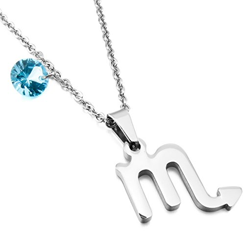 MunkiMix Acero Inoxidable Vidrio Glass Colgante Collar Escorpión Constelación Horóscopo Zodíaco Plata Tono Hombre,Mujer,Cadena