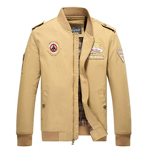 Cheerun Spmor Men's Bomber Jacket Military Jacket Men Lightweight Warm Cotton Casual Jackets Thick Stand Collar Coat Khaki Medium