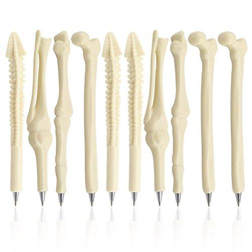 PIXNOR - Bolígrafos con forma de hueso para enfermera, doctor, técnico de rayos X, tinta azul, Paquete de 10, Patrón aleatorio