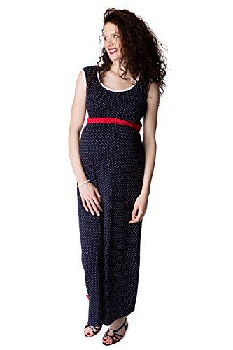 GoFuture Damen Umstandskleid Stillkleid 3in1 Perla GF2227XB in Marine mit weißen Punkten Plus Weisse Bündchen