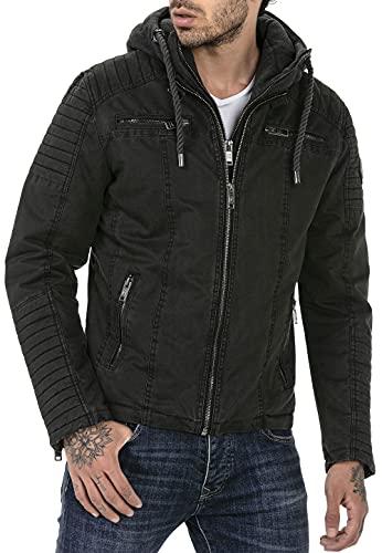 Redbridge Chaqueta de invierno para hombre acolchada con capucha desmontable Negro S