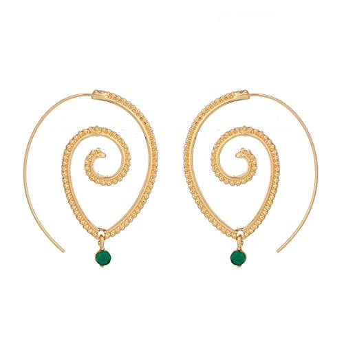 JKUNYU Ropa Pendiente Europeos y Americanos Estilo de Personalidad Ronda Espiral de Pendientes de Diamantes exageración Remolino Verde Match Mujer