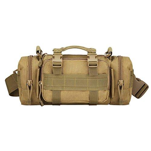 Greenpromise Outdoor Tactical Military Molle Assault Hüfttasche Schultertasche Bauchtasche Tasche (Hellbraun)