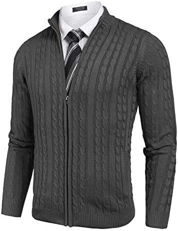 COOFANDY Men s Full Zip Cardigan Sweater Slim Fit Cotton Cable Knitted Zip Up Sweater with Pockets product image