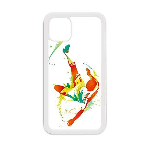 Funda para iPhone 12 Pro Max con diseño de jugador de fútbol y bicicleta, color blanco