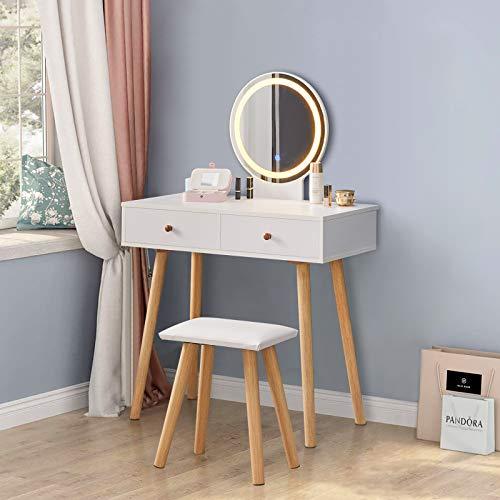 CLIPOP Juego de taburetes de tocador, mesa de tocador blanca con luces LED de brillo ajustable, espejo y 2 cajones, escritorio de maquillaje para muebles de dormitorio de niña