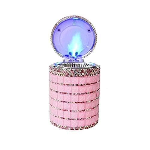 MISS KANG Cenicero de cenicero con Tapa Exquisito Cristal Diamante Cenicero Cenicero Holder Sin Humo Diamond Cenicero con Tapa y Luces LED Azules Color: Rosa Qingchunw
