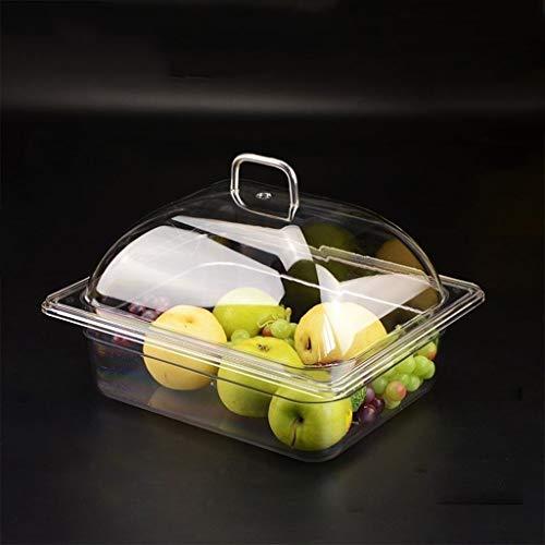 C-J-Xin Chip & Dip servidor, de plástico de almacenamiento de alimentos de contenedores Conjunto supermercado Emparedado del pan de postre bandeja rectangular transparente pastelería Dome Bandejas par