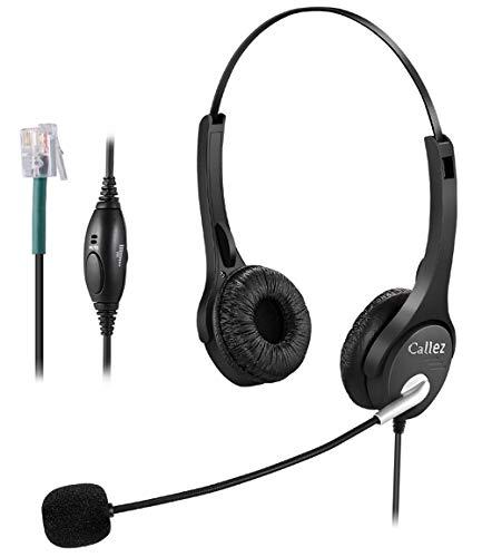 Callez Auriculares Teléfono Fijo RJ9 Dual, Cancelación de Ruido Micrófono, Cascos Manos Libres con Control de Volumen para Mitel Avaya Comdial Plantronics Aastra Allworx Adtran Alcatel(C402A1)