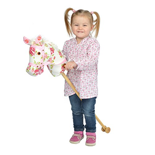 Pink Papaya hobby horse - stick horse - toy horse with neighing/galloping sounds