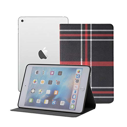 iPad Mini 1/2/3 Case - 360 Degree Rotating Stand Smart Cover Case with Auto Sleep Wake Feature,Christmas New Year Tartan Plaid Scottish