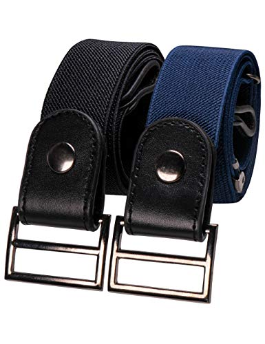 RBOCOTT 2 Stücke Gürtel Ohne Schnalle Schwarz Marine Elastischer Gürtel Verstellbare Unsichtbar Gürtel für Herren und Damen Jeans