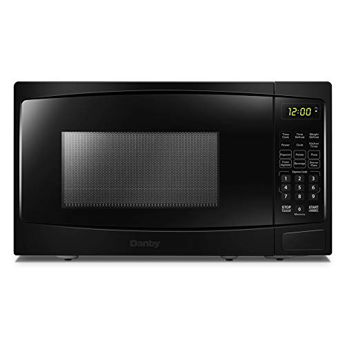 Danby DBMW0720BBB 700 Watts 0.7 Cu.Ft. Countertop Microwave with Push Button Door| 10 Power Levels, 6 Cooking Programs| Auto Defrost and Child Lock, Black