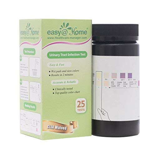 Easy@Home(UTI-25P) Urinary Tract Infection Test Strips (UTI test strips),25 tests/bottle - FDA Cleared for OTC USE, Urinalysis Test to detect Leukocytes and Nitrite
