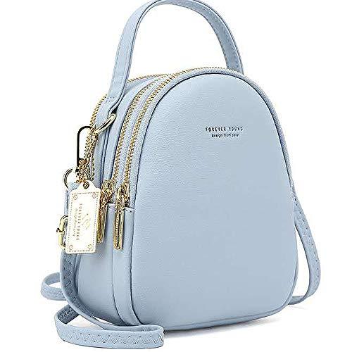 WANYIG Frauen Mini Rucksack Kleine Handy Schultertasche Damen PU Leder Daypack Tasche Umhängetasche Schulrucksäcke Handtasche Mini Casual Daypacks(Blau)