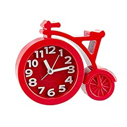 Brilliant-store wall-clocks Creative Bike Table Alarm Clock Gifts for Kids Student Lovely Cartoon Quartz Movement Beside Children Home Decoration Clock,Red