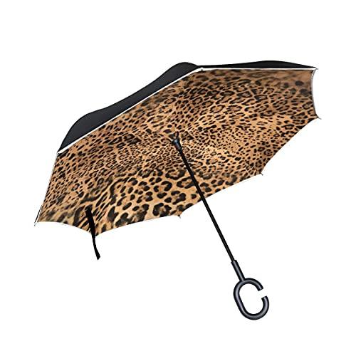 Paraguas plegables Vintage Forest Leopard Close View Paraguas plegables inversos a prueba de viento UV con mango en forma de C