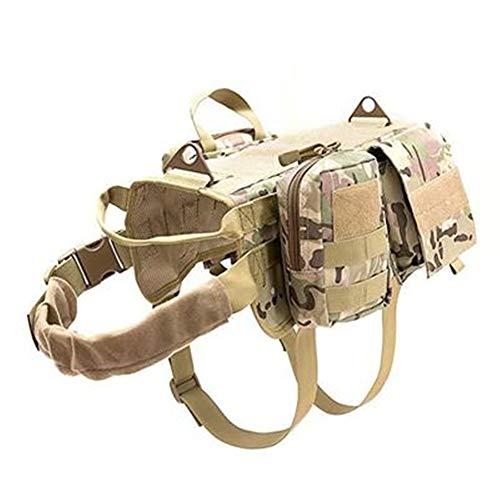 BEESCLOVER FGJ Molle Hundetrainingsweste für Outdoor-Hunde, verstellbar, 600D Nylon-Gewebe, CP Camouflage (Set)-S