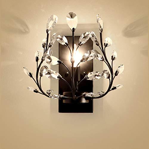 JminJC Lampe Murale Créative Lampe Murale Vintage en Fer Forgé Bougie en Cristal Salon Chambre,Black