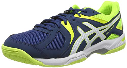 ASICS Gel-Hunter 3, Chaussures de Badminton Homme, Bleu (Poseidon/White/Safety Yellow), 43.5 EU