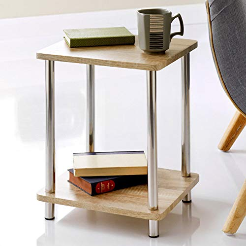 Saxony Stylish Oak Effect 2 Tier Table Unit Oak Shelves, Stainless Steel Legs Living Room Decor