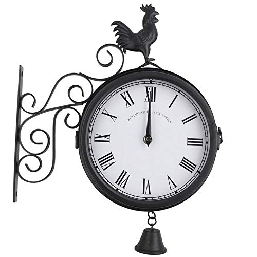 Xiome Outdoor Garden Wall Station Uhr Doppelseitiger Hahn Vintage Retro Home Decor Outdoor Wandstation Clock Sided Cockerel