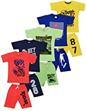Crazyon Boys Roundneck t Shirt Shorts 3/4 Set Dress Combo Pack of 5