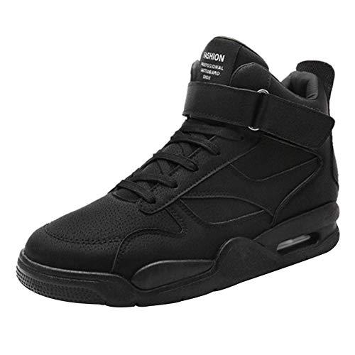 ECOSWAY Hommes Solid Couleur Baskets Léger Respirant Athlétique Marche Course Chaussures - Noir, 44
